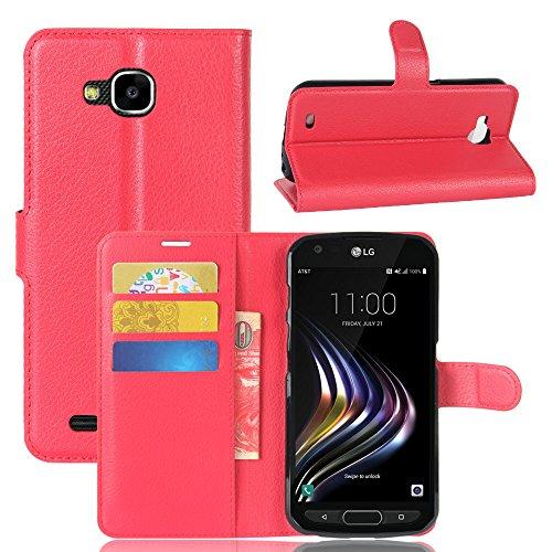 Kihying Hülle für LG X Venture Hülle Schutzhülle PU Leder Flip Wallet Fashion Geschäft HandyHülle (Rot - JFC03)