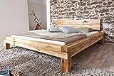 LIAS Massivholzbett Holzbett Doppelbett Ehebett Jugendbett Bett Balkenbett Bettrahmen Bettgestell Wildeiche, 180 x 200 cm
