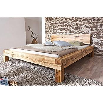 Bett Doppelbett Balkenbett Wildeiche massiv Schlafzimmer Balken ...