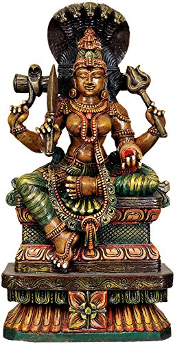 Exotic India Exotic India Large Size Goddess Durga South Indian Temple Wood Carving