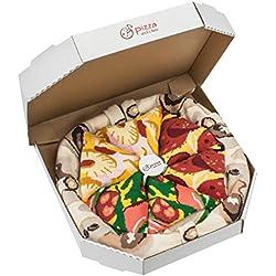 Idea de REGALO Original. Pizza MIX Italiana Hawaiana Pepperoni - 4 pares de CALCETINES Divertidos de ALGADON, Unicos y Originales | para Mujer y Hombre: Tamaños 41-46, Fabricado en EU