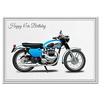 Happy Birthday Card for him - Men Boys All Ages Keepsake - Unique AJS Motorcycle (65th Birthday Card)