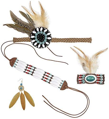 Stirnband, Armband, Ohrringe, Halsschmuck mit Federn und Perlen für Indianerin-Kostüm, Namen: Version - Indianer Kostüm Namen