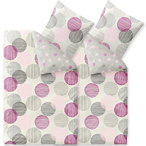 CelinaTex 4tlg Winter Bettwäsche 155x220 Microfaser Fleece Bettbezug mit 80x80 Kissenbezug Style Bettgarnitur Finja Wendedesign Streifen Kreise grau lila rosa Creme 6000077