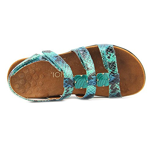 Vionic Paire Ambre–Femme Slide Sandale–Orthaheel Teal Snake