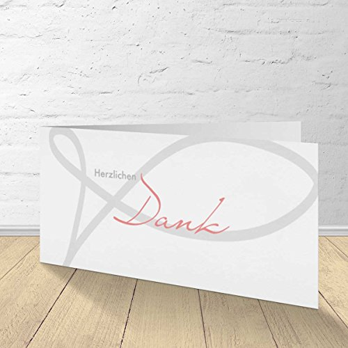 5x Danksagungskarten Konfirmation, Kommunion, Firmung, mit passenden Umschlägen, Klappkarten im Set zu 5 Stk.Fisch