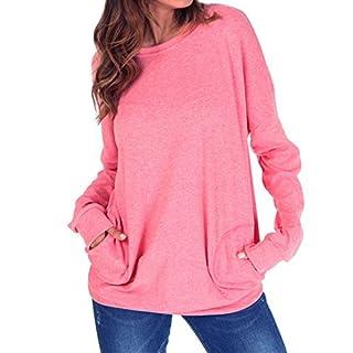 Langarm Sweatshirt Damen Rundhals Pullover Casual Loose Oberteile,einfarbig,Baumwolle,mit Taschen,rosa,M