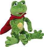 Fliegender Frosch - Plüschtier - Stofftier - Kuscheltier - Dieser absolut süße Frosch hat Gummibänder in seinen Armen, an denen er durch den Raum geschossen werden kann! Mit seinem roten Cape sieht er beinahe aus wie ein Superheld - beinahe! Mit Klettverbindungen an den Händen kann er sich in luftigen Höhen gut festhalten - ideal als Geschenk
