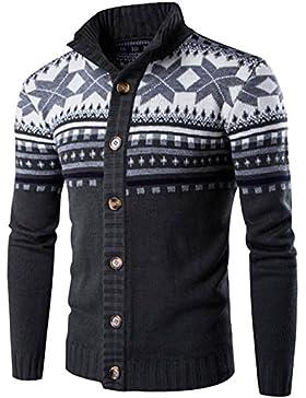 Youlee Hombres Navidad Patrón de copo de nieve Abrigo de suéter de cardigan