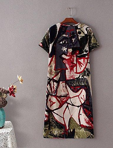 PU&PU Robe Aux femmes Ample Street Chic,Imprimé Col Arrondi Midi Coton / Lin RED-XL