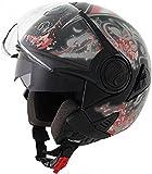 ROADSTAR Jet-Helm Hornet , Dekor Twist rot Größe L