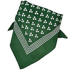Green With White 3-Dot & Stripes Bandana Neckerchief by Ties Planet