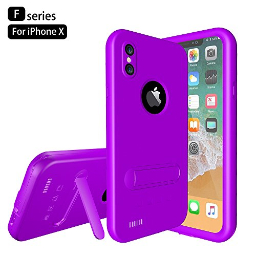 Custodia Protettiva Impermeabile Apple iPhone X, Voguecase Funda Impermeabile Cover / Case / Custodia PC + TPU Duro Rigida Ibrido con Hand Strap & Headphone Adapter (Nero) Con Stilo Penna Porpora