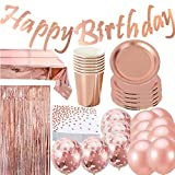 Jolily Or Rose Anniversaire Fête Décorations Vaisselle pour 16 Invités, 16 Tasses, 16 Assiettes,16 Serviettes, 1 Joyeux Anniversaire Bannière, 3.3 X 6.6ft Photomaton,1Nappe,15 Ballons