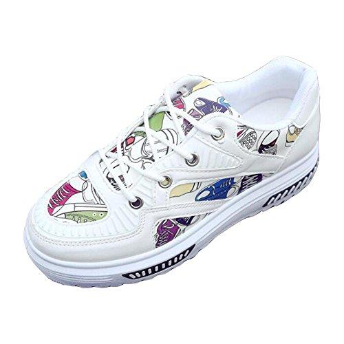 Graffiti PU Chaussures décontractées printemps et été femme chaussures de sport White