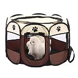 Zaote - Parc à jeu portable pour animal domestique - Pliable - 8 côtés - Pour chiot, chaton, lapin, hamster