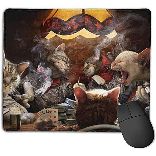Mauspad,Katzen, Die Poker-Lustiges Rauchendes Dauerhaftes Bequemes Computer Mousepad Für Büro-Computer-Dekoration Spielen 18cmx22cm