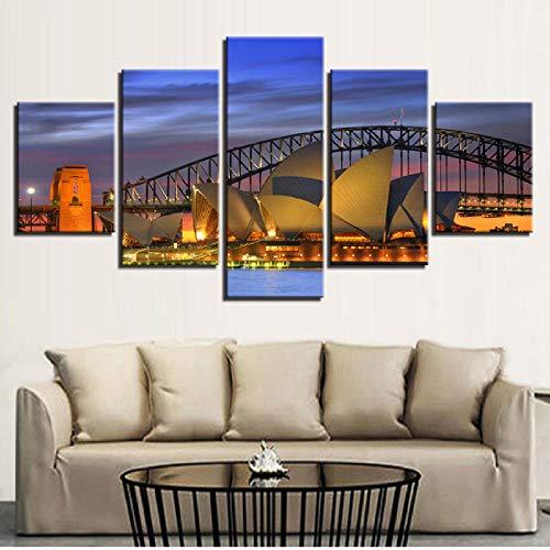 shuyinju Leinwand Wandkunst Bilder Wohnkultur Wohnzimmer 5 Stücke Sydney Nacht Landschaft Malerei HD Drucke Harbour Bridge Poster Rahmen-40x80cmx2 40x100cmx1 (Sydney Harbour Bridge Poster)