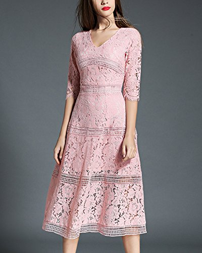 Femmes V-Cou Robe de Rayure Rose Manches Courtes Cocktail Crayon Robe pink