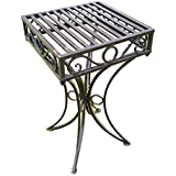 Olive Grove Versailles Metal Garden side Table or Plant Stand in Antique Bronze Finish