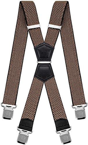 Decalen Hosenträger für Herren Breit 4 cm mit sehr Starken 4 Metall Clip Lang Einheitsgröße für Männer und Damen Einstellbar und Elastisch X Style (Dunkelbeige) -