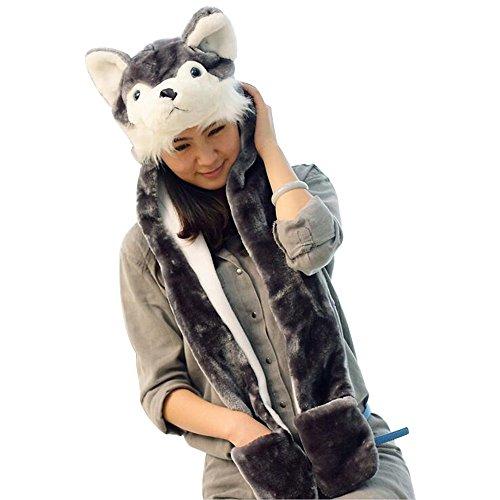 Eastlion Karikatur Tier Siamesische Hut Schal Handschuhe Plüsch Warme Ohr Schutz Schnee Kappe,Grauer (Hund Kostüm Muster Die Ohren)