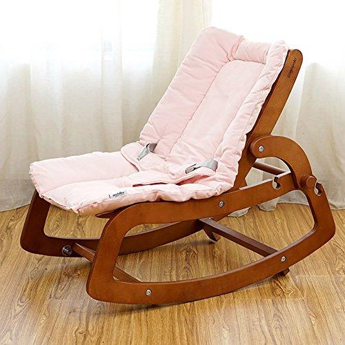 Zcjb sedia multifunzionale per bambini in legno massello reclinabile per bambini. bambino neonato bb artefatto addormentato (colore : rosa)