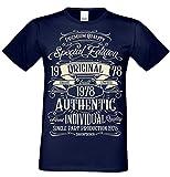 T-Shirt Geschenk zum 40. Geburtstag Special Edition 1978 Bruder Sohn Freund Papa Opa Farbe: Navy-blau Gr: XL