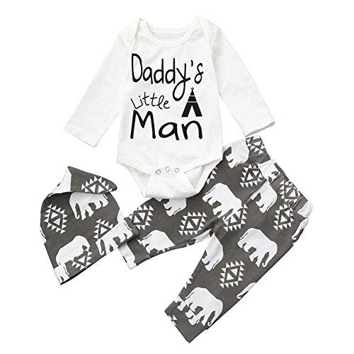 Babykleidung Sets für 0-18 Monate, Janly Neugeborenen Jungen Mädchen Papa kleine mann Briefe Outfits Pyjamas mit Säuglingsspielanzug Tops + Pants + Cap (Grau, Alter: 12-18 - Mann-baby-kostüm