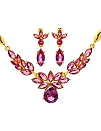 Ruvee Traditional Indian Pink Jewelry Necklace Set For Women & Girls For Parties & Weddings