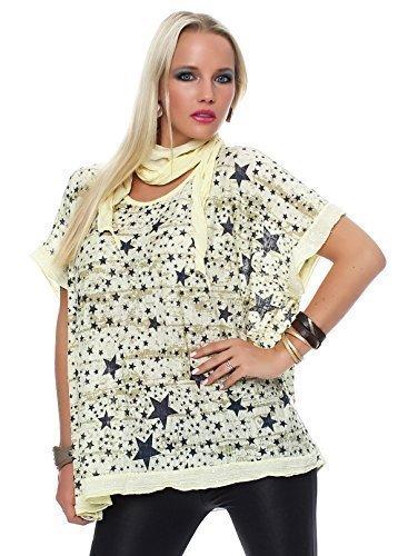ZARMEXX Donna Maglia A Manica Corta Maglia estiva con Scialle Maglione con stelle stampa e Paillettes Oversize - giallo, Taglia Unica 38/52