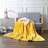 "Zangge Bedding Home Sherpa Blanket Soft Warm Large Flannel Throw Bed Blanket for Kid Children Yellow 59""x79"""