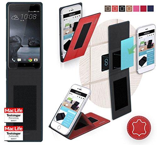reboon HTC One X9 Hülle Tasche Cover Case Bumper | Rot Leder | Testsieger
