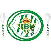 Productos Oficiales - Set plato microondas con cuchara y tenedor real betis