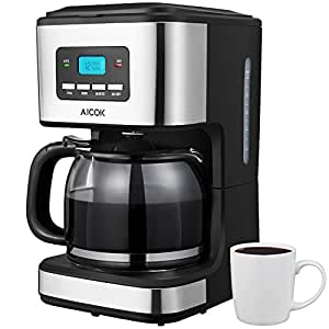 aicok cafeti re electrique filtre cafeti re programmable 12 tasses avec carafe en verre. Black Bedroom Furniture Sets. Home Design Ideas