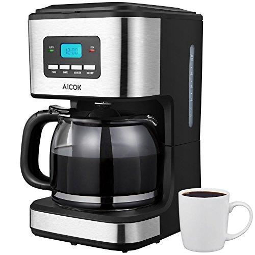 Cafetera, Aicok Cafetera Goteo 12 Tazas, Cafetera Goteo Programable 12 Tazas con Jarra de Vidrio, Cafetera Goteo Filtro Permanente, 900W, Negro