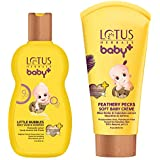 Lotus Herbals Baby+ Little Bubbles Shampoo, 200mland Baby+ Feathery Pecks Soft Baby Crème, 50g