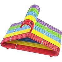 Livivo® - Perchas coloridas para niños – Pack de 20 perchas de alta calidad en 5 colores surtidos – Hecho de plástico fuerte seguro para niños con 2 ganchos para almacenamiento extra – perfecto para colgar ropa de niños, bebés, abrigos, chaquetas, prendas, faldas, vestidos, armario y armario