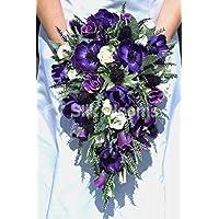 Splendida viola artificiale Anemone e cardo bouquet da sposa con rose bianche - Anemone Bouquet Da Sposa