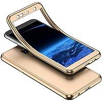 YSIMEE Compatible Fundas Samsung Galaxy J4 Plus 2018 Estuches Transparente Silicona 360 Grados Completa integral Frente y Detrás Suave Ultra Delgado Bumper TPU Goma Protectora Carcasas,Oro