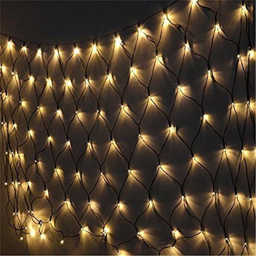 WOJ Christmas rete di luci ,1.5M X 1.5M 120 Bianco caldo LED, Fairy Net Lights Festival Decorations Mesh Lights High Brightness, Outdoor Indoor Waterproof, Color Selectable,Connection