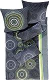 Erwin Müller Bettwäsche, Bettgarnitur Fein-Biber Kreise grau-grün Größe 135x200 cm (40x80 cm) - hautsymphatisch, bügelleicht, mit Marken-Reißverschluss (weitere Größen)