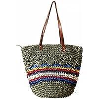 FAIRYSAN, motivo spiaggia da donna, paglia Borsa a tracolla, borsa per la spesa a strisce