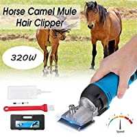 shengshiyujia Professional Electric Horse Shears Horse Hair Clippers,320W & 6 Speed Adjustable, for Shaving Fur in Donkey Alpacas,Llamas and Other Farm Livestock Pet