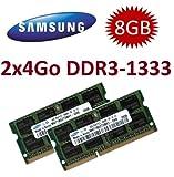 Samsung M471B5273CH0-CH9 Arbeitsspeicher-Kit (für Laptops mit DDR3-Unterstützung und Apple iMacs (Modell von Mitte 2010), 8 GB (2 x 4 GB), DDR3 PC3-10600, 1333 MHz, 204-polig, SO-DIMM) 2 Stück