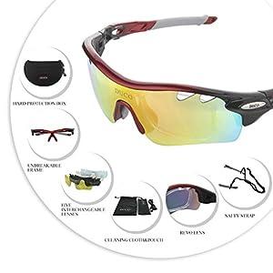 DUCO 0025 – Gafas de sol deportivas, polarizadas, con 5 lentes intercambiables. Protección UV400 anti rayos UVA UVB UVC