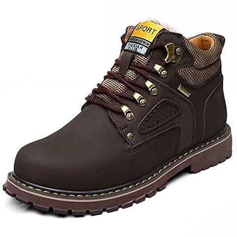 Martin bottes/Hommes plus fleece bottes d'outillage/Bottes d'Angleterre Gao Bangjun/Raquettes à neige-C Longueur du pied=23.8CM(9.4Inch)