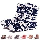 TWINS Fashion « Montreal » weich & warm gefütterte Damen Hütten-Schuhe I Stiefel I Slippers I Fleece Plüsch - Rutschfeste hohe Hausschuhe Winter (36/37, Blau)