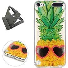 iPod Touch 5/6 Funda de gel de Silicona (con Trípode Negro Libre) Keyye Cristal a Prueba de Golpes Suave Jalea de Goma TPU Parachoques Protección Shell Cubierta-Ananas dell'oro
