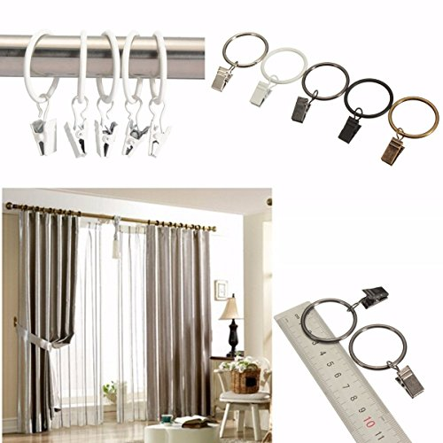 Curtains Ideas curtain pole clips : 20Pcs Metal Shower Curtain Pole Clamps Multifunction Window ...